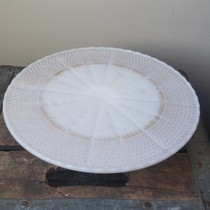 Vintage milk glass pedestal cake stand with gold